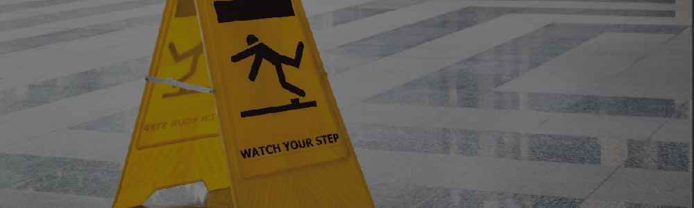 A warning sign need so person doesn't fall and need a slip and fall lawyer in Anderson, SC